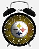 Steelers Twin Bells Alarm Desk Clock 4' Home Office Decor E423 Nice for Gifts
