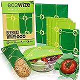 Ecowize Bee Wrap - Emballage Alimentaire en Cire d'Abeille - Set de 5 - 1 S, 3 M, 1 L - Film Alimentaire réutilisable naturel – Pour Repas et Aliments, - Alternative aux Sacs Plastiques