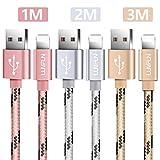 Luvfun 3-Pack Câble pour iPhone, 1m+2m+3m Nylon Tressé Câble Chargeur iPhone avec Aluminium Connecteur Résistant (Or Rose+Argent+Or)