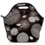 Noosa Life LARGE Neoprene Lunch Bag - Insulated Tote - Heavy Duty Zipper - Premium Stitching - 13 x 12.5 x 6.5 inches - Lunch Bag for Men Women Kids & Nurses - Best Travel Bag (Dahlia)