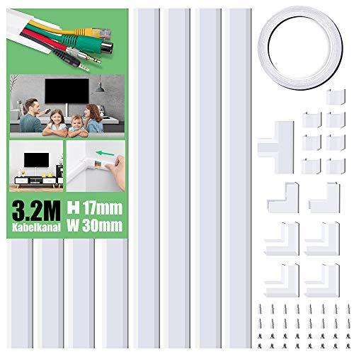 MUDEELA Kabelkanal Selbstklebend Weiss, 320cm PVC Kabelabdeckung, Kabelschacht zum verstecken von Kabel, TV Kabelkanal für alle Netzkabel in Haushalt/Büro, 8 Stück x L40cm*W3cm*H1,7cm, weiß