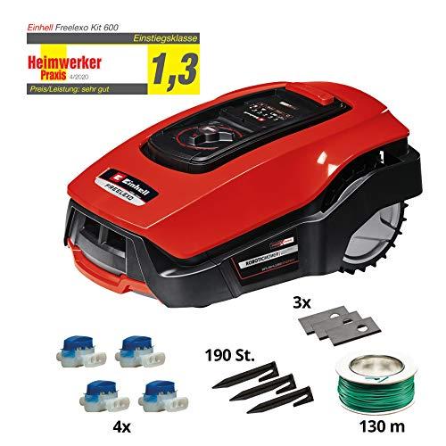 Einhell Mähroboter FREELEXO 500 m² Kit Power X-Change (Li-Ion, bis zu 500 m², Multizonen-Modus, bis 35{bf461171d8cda009cb97cacccfbb28fa1b05d116228d6985d77e28372755eea4} Steigung, Appsteuerung d. Bluetooth, Stoß-/Kipp-/Hebe-/Regensensor, inkl. Installations Kit)