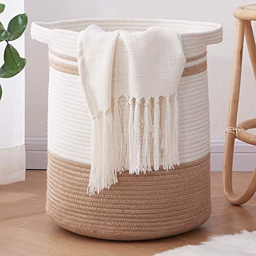 OIAHOMY Laundry Basket-Cotton Rope Basket Large Storage Basket with Handles,Modern Decorative Woven Basket for...
