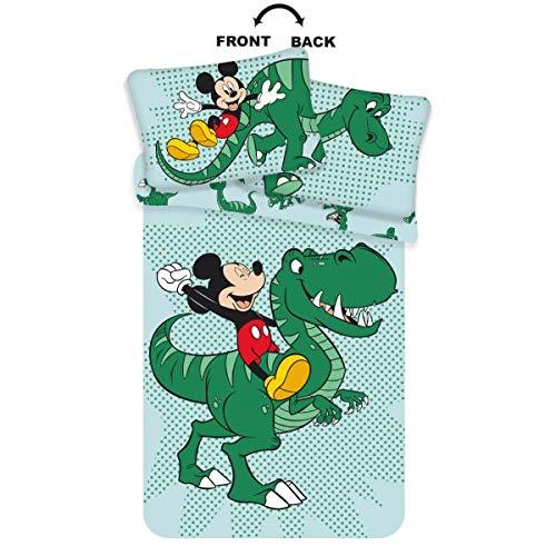 Lenzuola Dinosauro lettino verde - Biancheria da letto per bambini dinosauro Disney con Topolino - Lenzuolo reversibile dinosauro per culla - Completo letto Topolino misura 100 x 135 cm, 40 x 60 cm