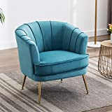 Altrobene Velvet Accent Chairs Comfy Chairs Armchairs with Golden Finished Metal Legs, Curved Tufted Chairs for Living Room, Bedroom, Office Modern Chairs, Dark Teal