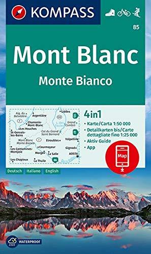 Mont Blanc, Monte Bianco: 4in1 Wanderkarte 1:50000 mit Aktiv Guide und Detailkarten inklusive Karte zur offline Verwendung in der KOMPASS-App. Fahrradfahren. Skitouren [Lingua tedesca]: 85