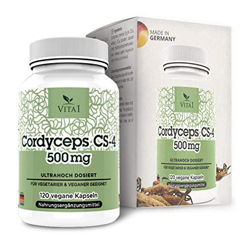 VITA1 Cordyceps Sinensis 500mg • 120 Kapseln (2 Monate Vorrat) • veganes CS-4 Extrakt • Hergestellt in Deutschland