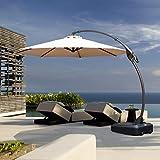 Grand Patio Deluxe NAPOLI 11 FT Curvy Aluminum Offset Umbrella, Patio Cantilever Umbrella with Base, Champagne