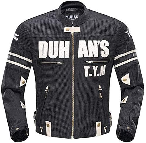 DABURYU ドゥーハン バイクジャケット ライディングジャケット 夏用 メッシュ 通気 メンズ プロテクター装備 3シーズン 黒 M-XXL (L)