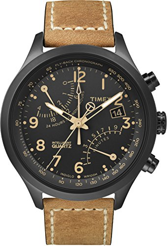 Timex Men's T2N700 Intelligent Quartz Fly-Back Chronograph Brown Leather Strap Watch