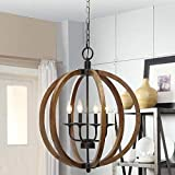Deluxe Lamp 20' W x 24' H Rustic Circle Chandelier Gray Wood and Iron Chandelier Large Orbit Chandelier Farm House Chandelier Rustic Rod Iron Chandeliers