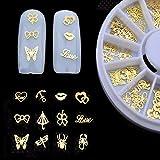 BLOUR 1 Uds Nuevo 3D Dorado Metal Nail Art Sticker decoración Rueda Mariposa Labios diseño pequeña Rebanada DIY Accesorios de uñas