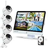 YESKAMO Long Range Wireless Outdoor Home Security Camera System with 16inch 1080p IPS Monitor 2TB Hard Drive [Floodlight & Audio]4 Spotlight IP Cameras WiFi 8 Channel Surveillance NVR Kits 2 Way Audio