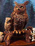 Ebros Gift Transient Wisdom of The Forest Great Horned Owl with Owlet Perching On Branch Decorative Figurine 8.5' H Animal Decor Family of Owls Statue