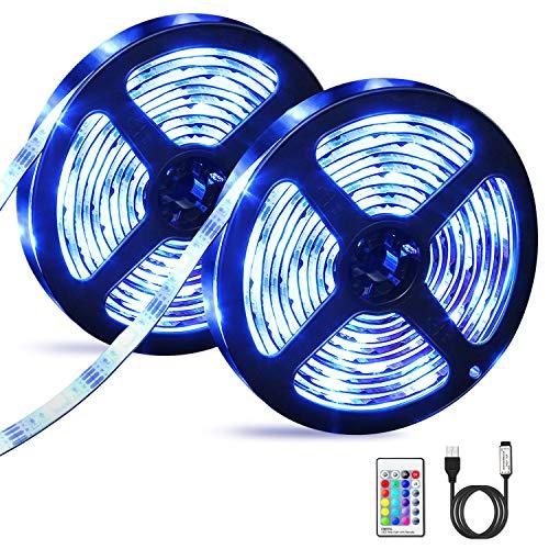 Striscia LED, OMERIL 6M (2x3m) LED Striscia RGB 5050 con Telecomando RF, 16 Colori e 4 Modalit,...