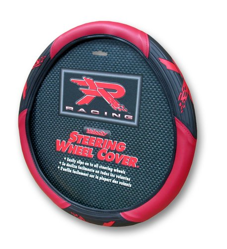 Plasticolor 6341 Black and Red R Racing Steering Wheel Cover