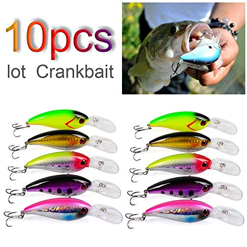 OriGlam - Set di 10 esche da pesca Minnow per pesca con esche rigide, per trota, spigola, luccio, persico, pesca d'acqua dolce e salata