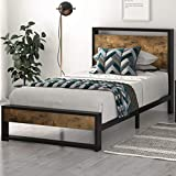 SHA CERLIN Twin Bed Frame with Wooden Headboard / 13 Strong Steel Slats Support / Single Platform Bed for Kids / No Box Spring Needed / Easy Assembly / Dark Brown
