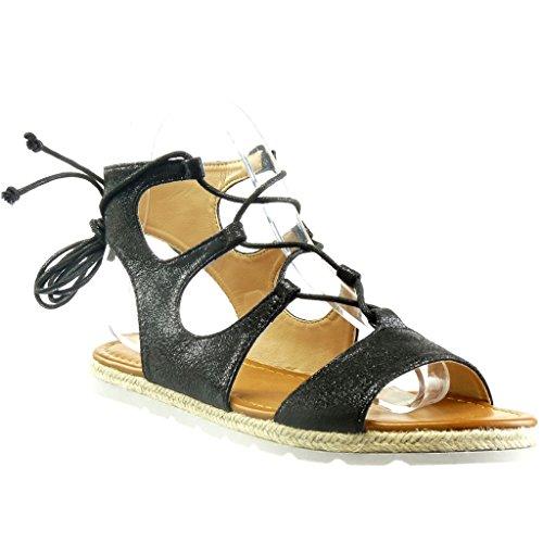 Angkorly - Zapatillas Moda Sandalias Alpargatas Abierto Stile Vendimia Suela de Zapatillas Mujer Brillantes Encaje Cuerda tacón Plano 1.5 CM - Negro YBS249-8 T 38