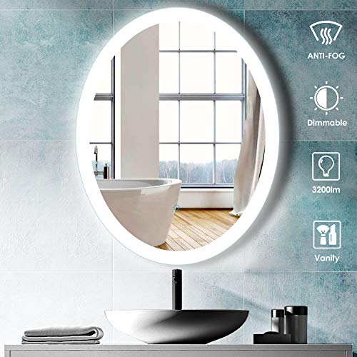 Aoorify 24'x 30' led Lighted Wall Mirror, with Anti-Fog Dimmer HD Distortion-Free Features, High Lumen+CRI90+ETL...