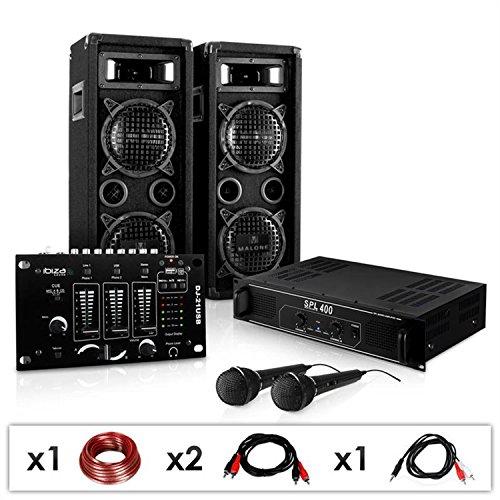 DJ-24M Karaoke-Komplett-PA-Set tolle Party-Musikanlage mit DJ-Mixer, 1200 Watt PA Boxen + Verstärker inkl. Kabel-Set (für bis zu 150 Personen, USB - & Stereo-Cinch Eingang, 4x 16cm Subwoofer)