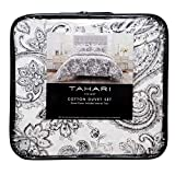 Tahari Home King Size Luxury 3 Piece Cotton Collection Duvet Comforter Cover and Two Pillow Shams Set Floral Rosemary Paisley Pattern in Charcoal on Cream Off White