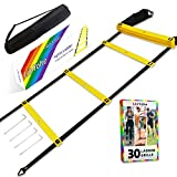LinYohe Fixed-Rungs Agility Ladder Speed Training Workout Equipment Set Connectable Ladder, Pegs, Carry Bag, Guidebook for Football Soccer Basketball Sports Exercise Fitness Gear Home Gym Kids Adults