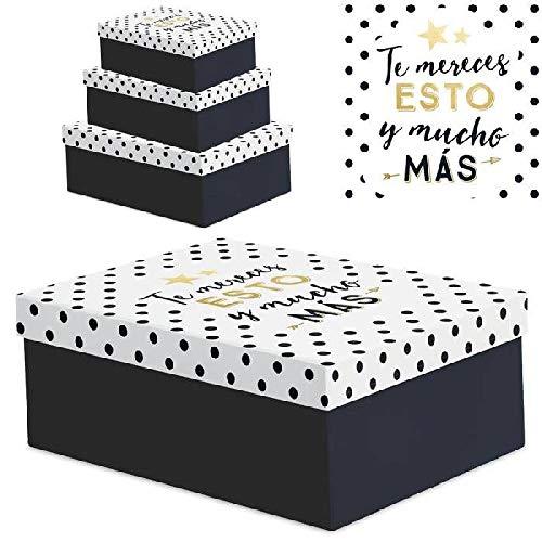 """Juego 3 cajas regalo diseño frases """"TE MERECES """""""