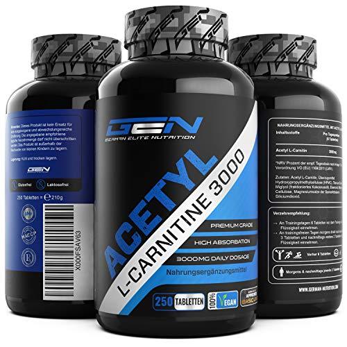 Acetyl L-Carnitin 3000-250 Tabletten - 3000 mg pro Tagesportion - Extra Stark - 100{c654ad1ff89afe898d675b4df0050159389aa14c80695cfe7e0eae7cd0d78846} Acetyl L-Carnitine - Starke L-Carnitine Form - Laborgeprüfte Qualität - Vegan - German Elite Nutrition