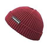Croogo ビーニー帽 イスラム帽 ニット帽 メンズ 大きめ カプッチョリッド 無地 秋 冬 ショートキャップ シンプル サマーニット帽 メンズ((G-KH07-ワインレッド)