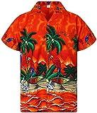 V.H.O. Funky Camisa Hawaiana, Parrot, Naranja, XS