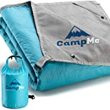 """Premium Waterproof Picnic and Camping Blanket - Outdoor/Travel Cozy Fleece Blankets/Towel for Stadium - Strong Nylon, XL 87"""" X 58""""(Optimal Size), 4 Metal Stakes, Clips to Attach Multiple Blankets"""