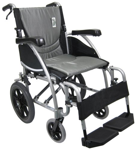 Karman Transport Wheelchair with Companion Brakes, 16' Seat and 14' Rear Wheels, Silver Frame