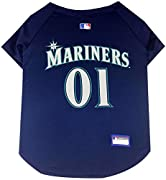 HIGH QUALITY MATERIAL: Lightweight with a breathable feel for enhanced comfort and mobility. OFFICIALLY LICENSED: featuring woven MLB jock tag, screen printed TEAM NAME, LOGO and NUMBERS The perfect DOG JERSEY for hosting a party, watching the game o...