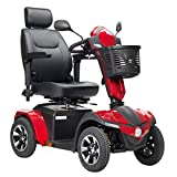Drive Medical Panther Captain Seat 4 Wheel Heavy Duty Scooter, Red, 22 Inch