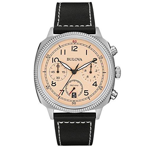 Bulova Herren-Armbanduhr Military Chronograph Quarz Leder 96B231