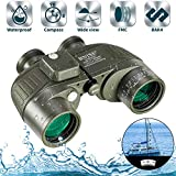 BNISE 10x50 Binoculars for Adults Marine Hunting Rangefinder Built-in Compass with Harness Strap, Professional Waterproof Long Distance Telescope BAK4 Porro Prism-Green