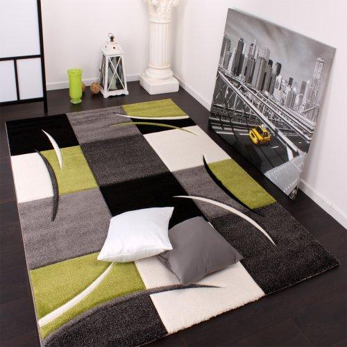 Paco Home Tappeto di Design Orlo A Quadri nei Colori Bianco Verde Grigio Nero, Dimensione:120x170 cm