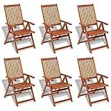 mewmewcat 7-TLG. Akazienholz Gartenmöbel-Set Holz Essgruppe Gartengarnitur Sitzgruppe - 3