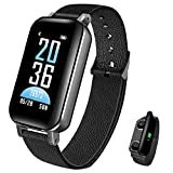 Newest Smart Bracelet Bluetooth Earbuds 2 in 1 Smart Watch Heart Rate Indoor Fitness Tracker Blood Pressure Watch Wristband iOS Android (Black)