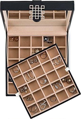 Product Image 7: Glenor Co Classic 50 Slot Jewelry Box Earring Organizer with Large Mirror, Black