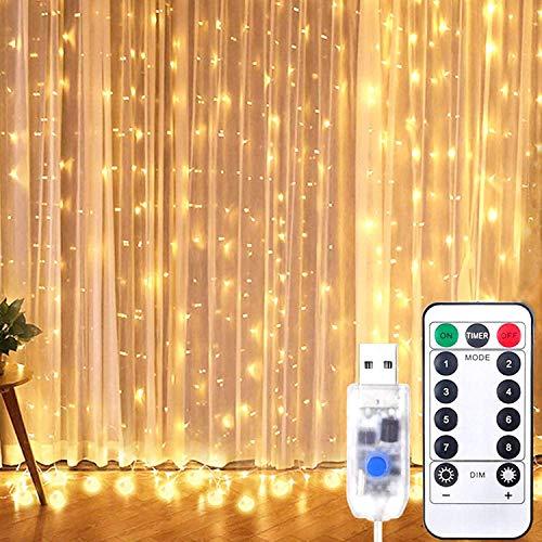 Luci a stringa, 300 luci a LED, 3 m x 3 m, con 8 modalit di telecomando, timer in rame, impermeabile, per esterni, interni, matrimoni, giardino, camera da letto, decorazione natalizia