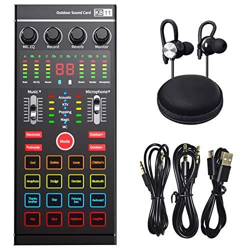 Scheda audio interfaccia audio esterna con mixer DJ  Produzione podcast portatile ALL-IN-ONE, studio con microfono da 3,5 mm per chitarra, TikTok/YouTube streaming live