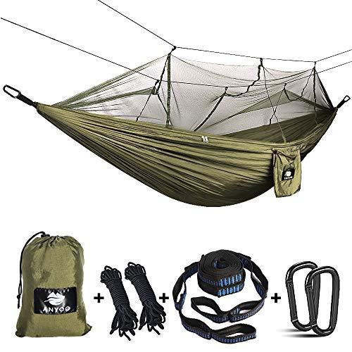 Anyoo Hamaca para Acampar con mosquitero Cama de Tela de Nylon de...