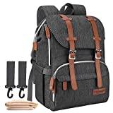 Diaper Bag Backpack, CANWAY Unisex Baby Bag with Changing Pad (Black)