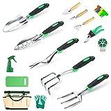 Garden Tools Set Crenova 34-Piece Heavy Duty Gardening Tools with Pruning Shears & Handle Storage Organizer, Aluminum Manual Gardening Kit for Gardening, Succulent Tools Gifts for Men or Women (34pcs)