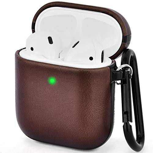 V-MORO Compatible with Airpods Case Genuine Leather Cover for Airpods 2/1 [Front LED Visible] Protective Skin Dark Brown