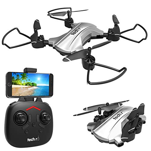 tech rc Drone con Telecamera HD 720P Drone Pieghevole WiFi FPV Drone Professionale Quadricottero Telecomando Sospensione Altitudine Un Pulsante di Decollo/ Atterraggio ,Modalità Senza Testa 3D Flip