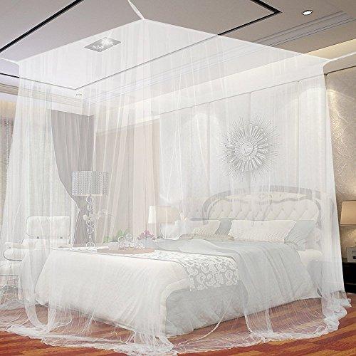 Jtdeal Moskitonetz doppelbett, 190* 210* 240cm, Mückennetz Kastenform für Camping, zu Hause, Garten, 4 offenen Seiten, (weiß)