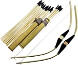 Adventure Awaits! - 2-Pack Mini Handmade Wooden Bow and Arrow Set - 20 Wood Arrows and 2 Quivers - for Outdoor Play